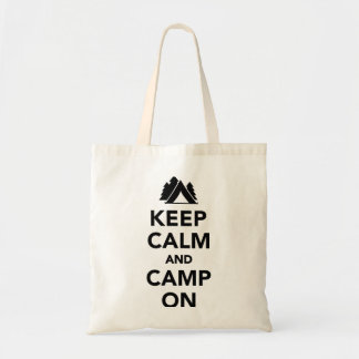 Keep calm and camp on tote bag