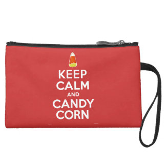 Keep Calm and Candy Corn Suede Wristlet