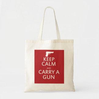 Keep Calm and Carry a Gun Canvas Bag