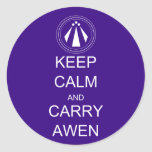 Keep Calm and Carry Awen Classic Round Sticker