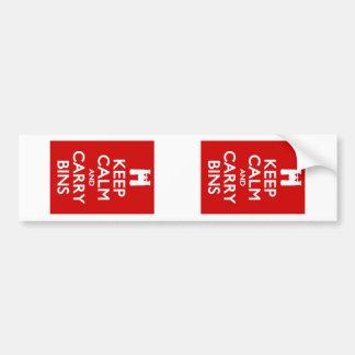Keep Calm and Carry Bins Bumper Sticker