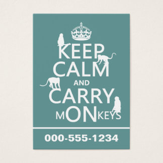 Keep Calm and Carry mONkeys - all colors Business Card