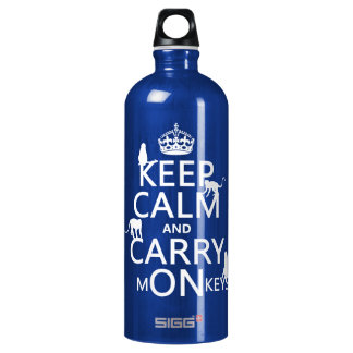 Keep Calm and Carry mONkeys - all colors Water Bottle