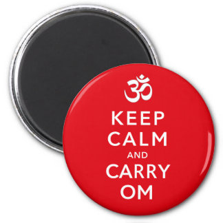 Keep Calm and Carry Om Motivational Morale 6 Cm Round Magnet