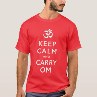 Keep Calm and Carry Om Motivational Morale (Dark) T-Shirt
