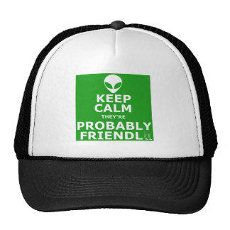 Keep calm and carry on alien trucker hat