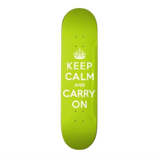 Keep Calm and Carry On Apple Green Skate Decks