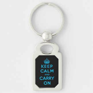 keep calm and carry on - Black and blue Key Chains
