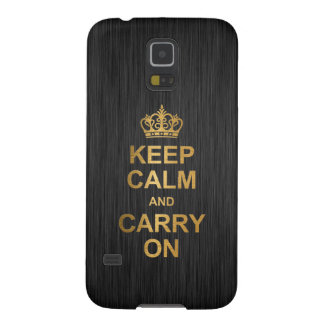 Keep Calm and Carry On - Black and Gold Galaxy S5 Cases
