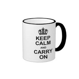 Keep calm and carry on - black and white mug