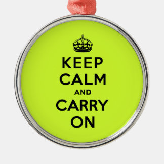 Keep Calm and Carry On Black on Chartreuse Christmas Ornament