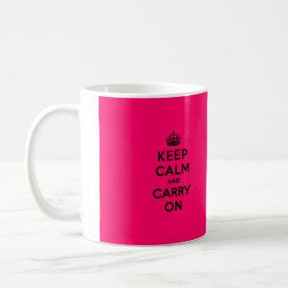 Keep Calm and Carry On Black on Hot Pink Basic White Mug