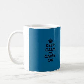 Keep Calm and Carry On Black on Millenium Blue Basic White Mug