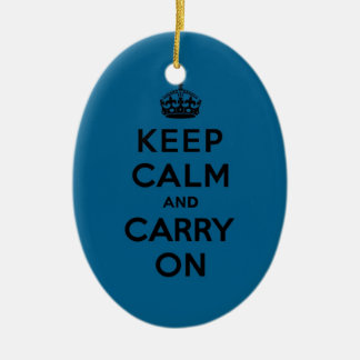 Keep Calm and Carry On Black on Millenium Blue Ceramic Oval Decoration