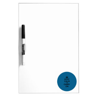 Keep Calm and Carry On Black on Millenium Blue Dry-Erase Whiteboards