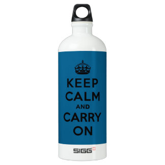 Keep Calm and Carry On Black on Millenium Blue SIGG Traveller 1.0L Water Bottle