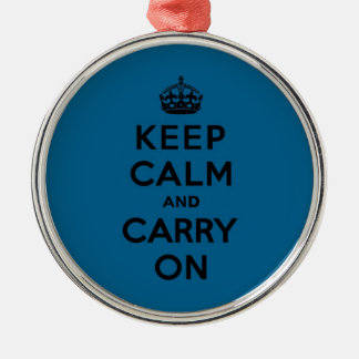 Keep Calm and Carry On Black on Millenium Blue Silver-Colored Round Decoration