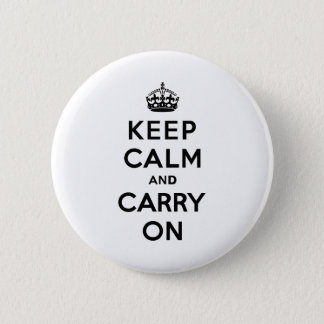 Keep Calm and Carry On Black Text 6 Cm Round Badge