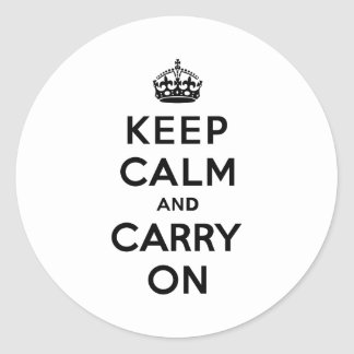 Keep Calm and Carry On Black Text Classic Round Sticker