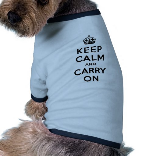 Keep Calm and Carry On Black Text Ringer Dog Shirt