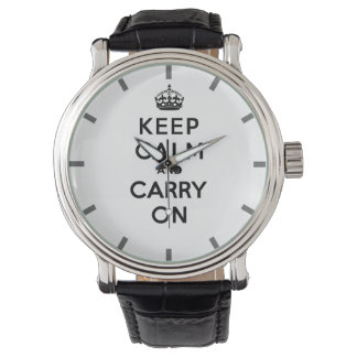 Keep Calm and Carry On Black Text Wrist Watches