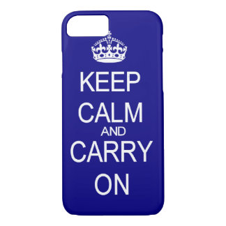Keep Calm and Carry on blue and white iPhone 8/7 Case