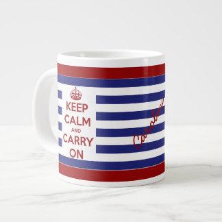 Keep Calm and Carry On Blue and White Stripes Jumbo Mug