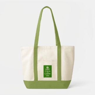 Keep Calm and Carry On British Racing Green Canvas Bags
