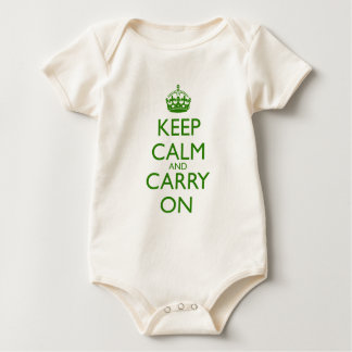 Keep Calm and Carry On British Racing Green Text Baby Bodysuit