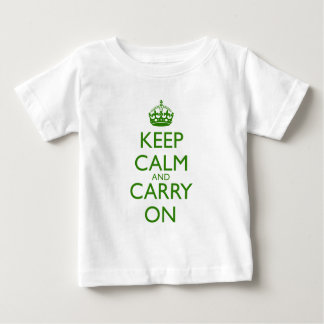 Keep Calm and Carry On British Racing Green Text Baby T-Shirt