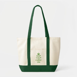 Keep Calm and Carry On British Racing Green Text Tote Bag