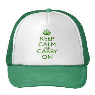 Keep Calm and Carry On British Racing Green Text Cap