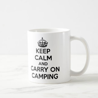 KEEP CALM AND CARRY ON CAMPING GIFT SELECTION NEW BASIC WHITE MUG