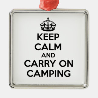 KEEP CALM AND CARRY ON CAMPING GIFT SELECTION NEW Silver-Colored SQUARE DECORATION