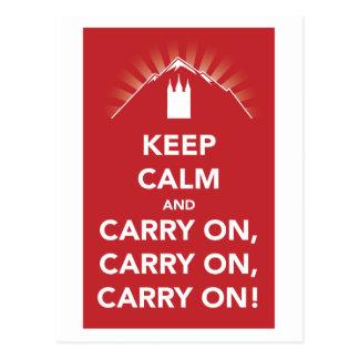 Keep calm and carry on, carry on, carry on! card postcard