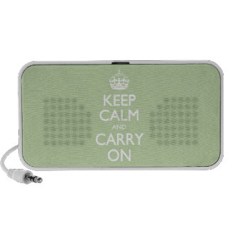 Keep Calm And Carry On - Celery Root White Text Travel Speakers