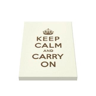 Keep Calm and Carry On Chocolate on Vanilla Canvas Print