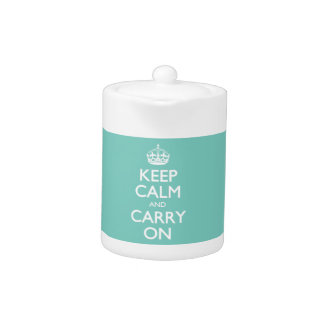 Keep Calm And Carry On - Cockatoo Mint. White Text