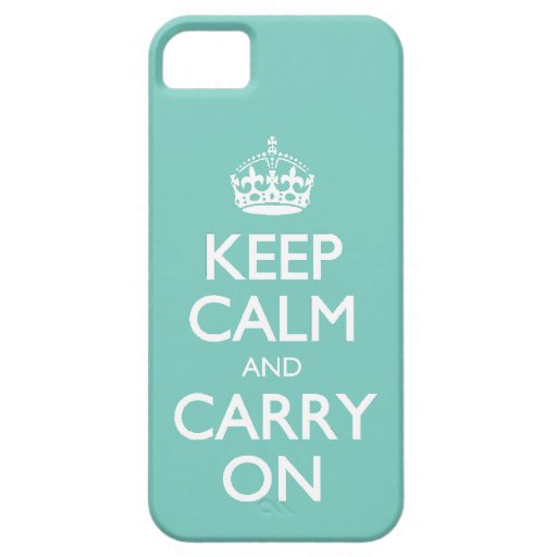 Keep Calm And Carry On - Cockatoo Mint. White Text iPhone 5 Cover