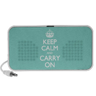 Keep Calm And Carry On - Cockatoo Mint. White Text Speakers