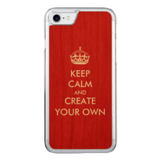 Keep Calm and Carry On Create Your Own | White Red Carved iPhone 8/7 Case