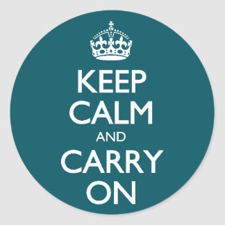 Keep Calm And Carry On. Dark Teal Pattern Round Sticker