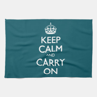 Keep Calm And Carry On. Dark Teal Pattern Tea Towel