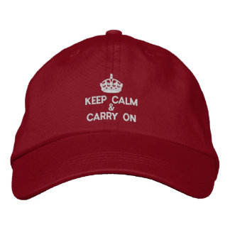 Keep calm and carry on embroidered baseball caps