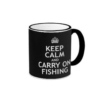 Keep Calm and Carry On Fishing Ringer Mug