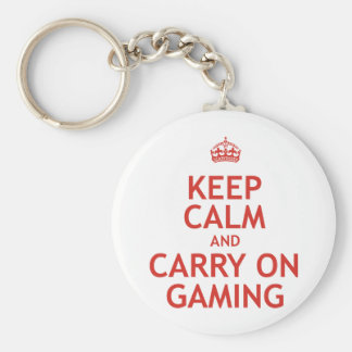 Keep Calm and Carry On Gaming Basic Round Button Key Ring