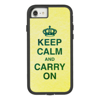 KEEP CALM AND CARRY ON Green / yellow texture Case-Mate Tough Extreme iPhone 8/7 Case