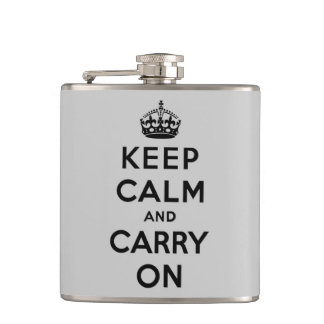 keep calm and carry on -  grey and black hip flask