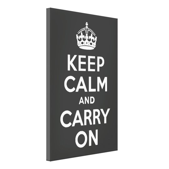 Keep Calm and Carry On Grey Wrapped Canvas