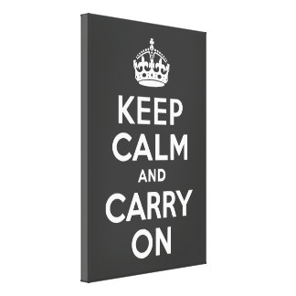 Keep Calm and Carry On Grey Wrapped Canvas Canvas Print